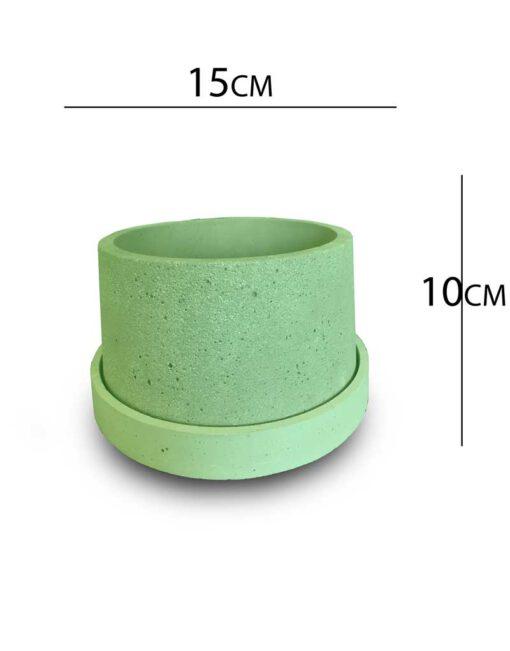 گلدان بتنی متوسط در رنگ سبز به همراه زیر گلدانی