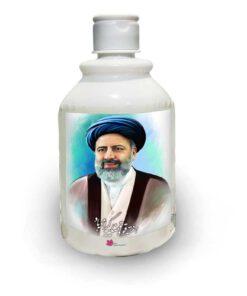 تبلیغات انتخاباتی ابراهیم رئیسی 1400 بر روی محلول ضدعفونی کننده